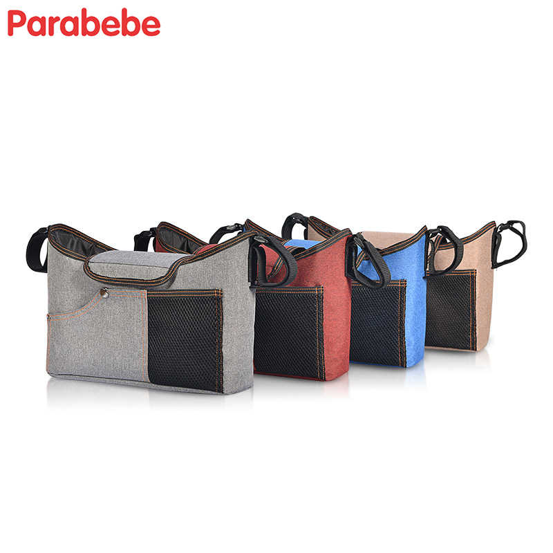 Parabebe Diaper Bag For Baby Stuff Nappy Bag Stroller Organizer Baby Bag Mom Travel Hanging Carriage Pram Buggy Cart Bottle Bag