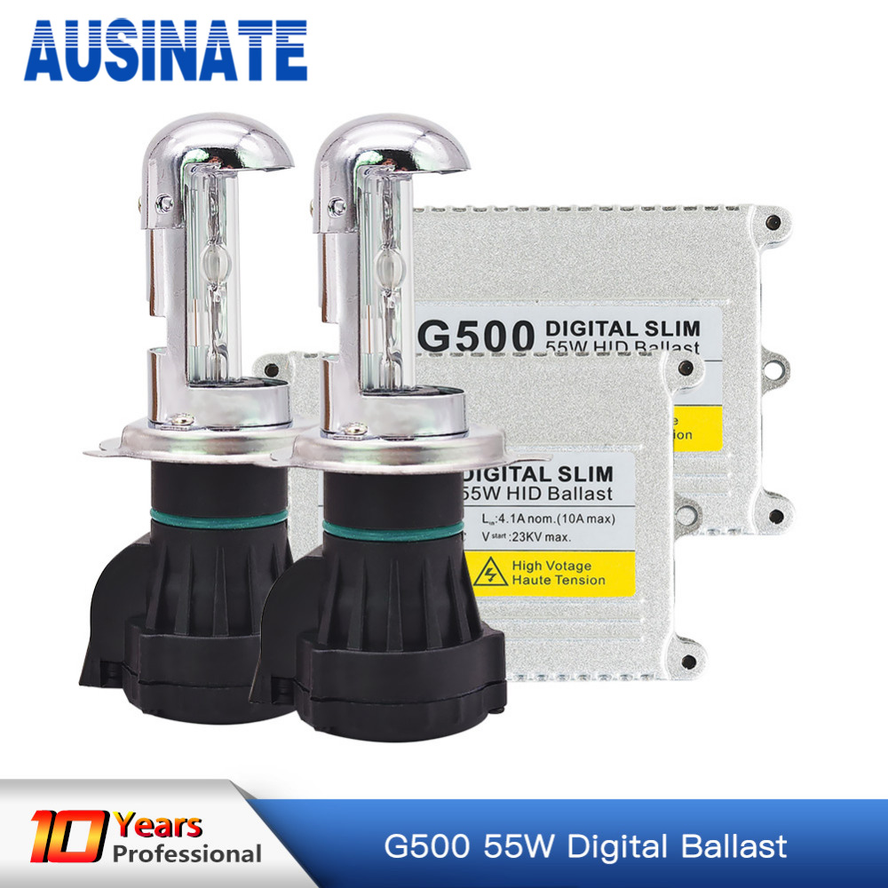 Xénon h4 bi xénon hid kit AC 12 V 55 W H4 Bixenon lampe Hi/lo faisceau ampoule HID Ballast 4300 k 5000 k 6000 k 8000 k kit xénon h4 bixenon