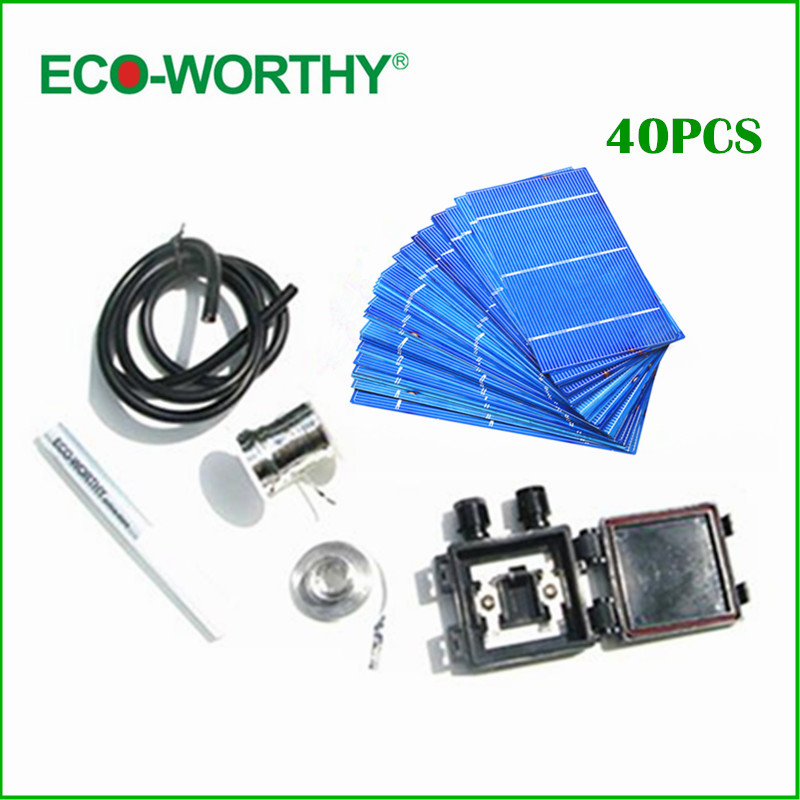 Hot 40pcs 3x6 polycrystalline Solar Cells wires lead box flux pen for DIY solar panel free