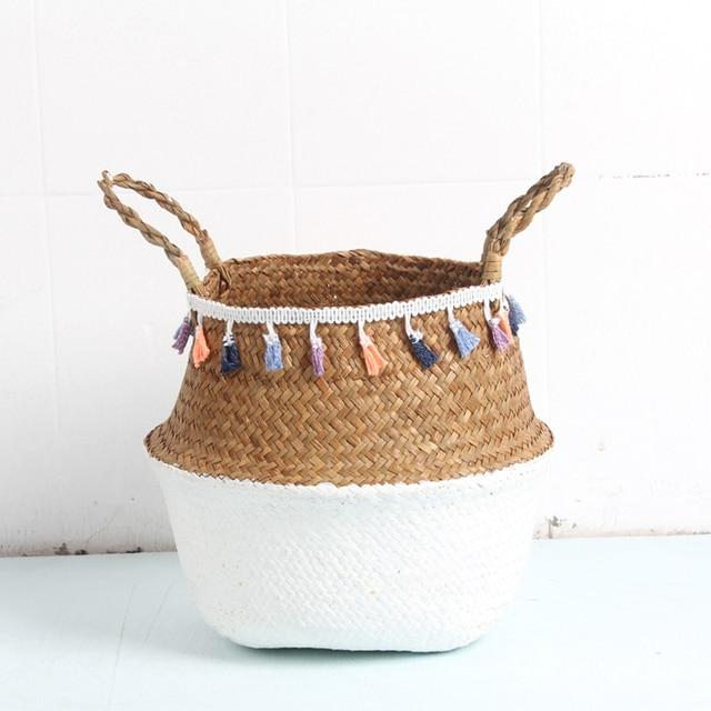 Macrame DIY decorativa Rattan Cestas de armazenamento cesta de vime Vaso de Flores Do Jardim Decorativo Casa organizador cesta