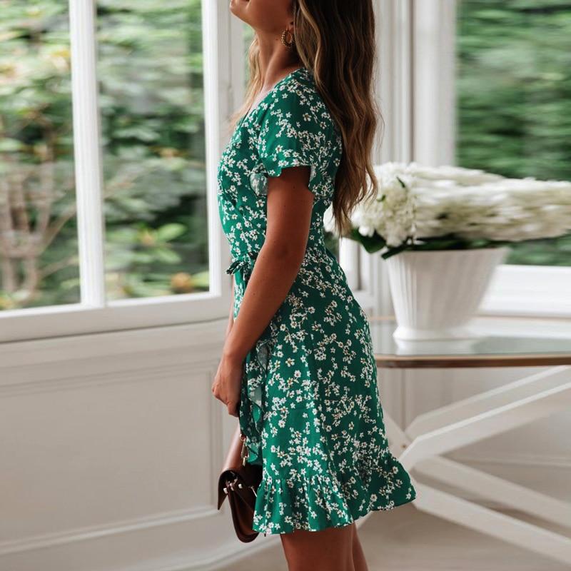 Women Dresses Summer 2019 Sexy V Neck Floral Print Boho Beach Dress Ruffle Short Sleeve A Line Mini Dress Chiffon Sundress Robe 2