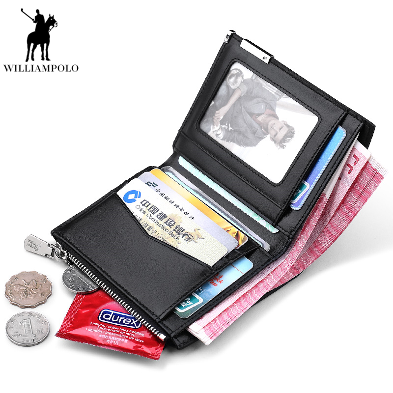WILLIAMPOLO 2018 100% Genuine Leather Short Bifold Purse Slim Wallet Men Coin Pocket Pouch Black Male Wallet PL210 williampolo mens mini wallet black purse card holder genuine leather slim wallet men small purse short bifold cowhide 2 fold bag