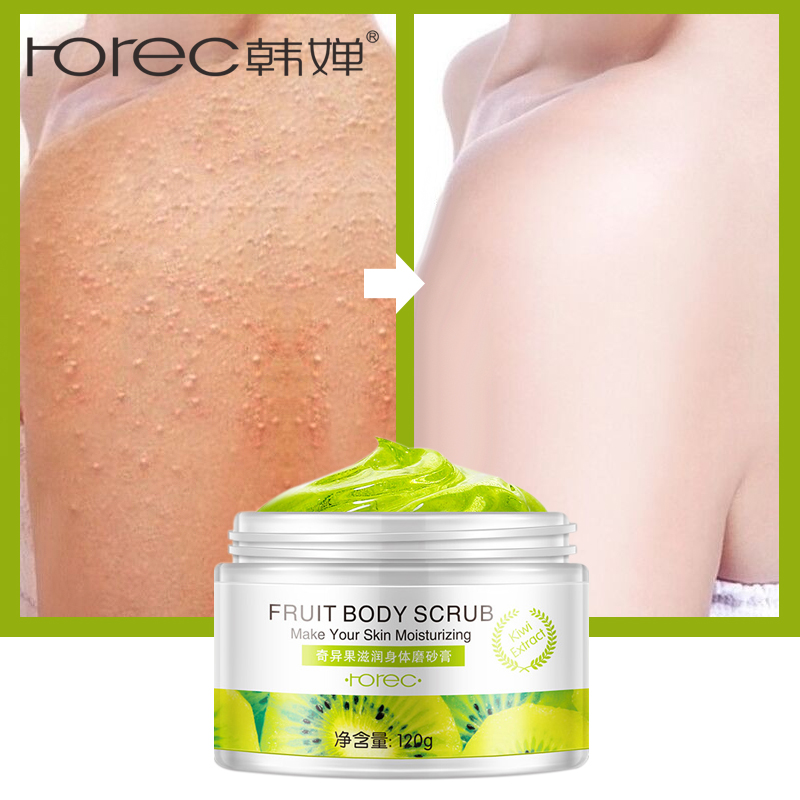 ROREC Fruit Body Scrub Exfoliating Cream Body Massage Whitening Gel Shrink Pores Mositure Skin Care Tomato Orange Kiwi 3 Scent