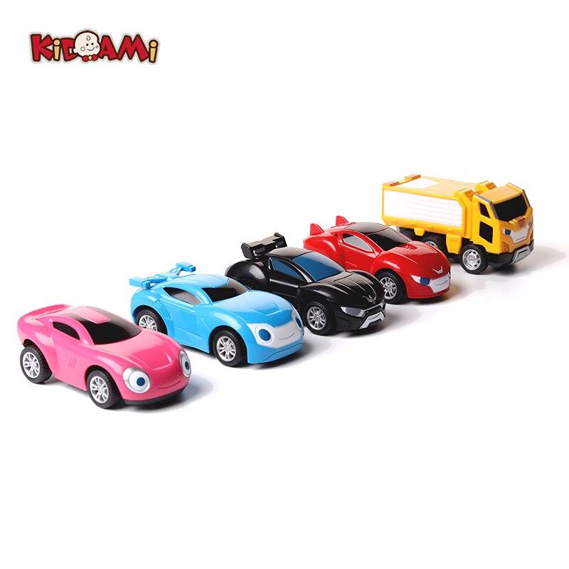 KIDAMI Korea Cartoon Power Coin Watch Car Character Bus Pull Back Miniature Toys For Children Birthday Gift Car Model Miniatura