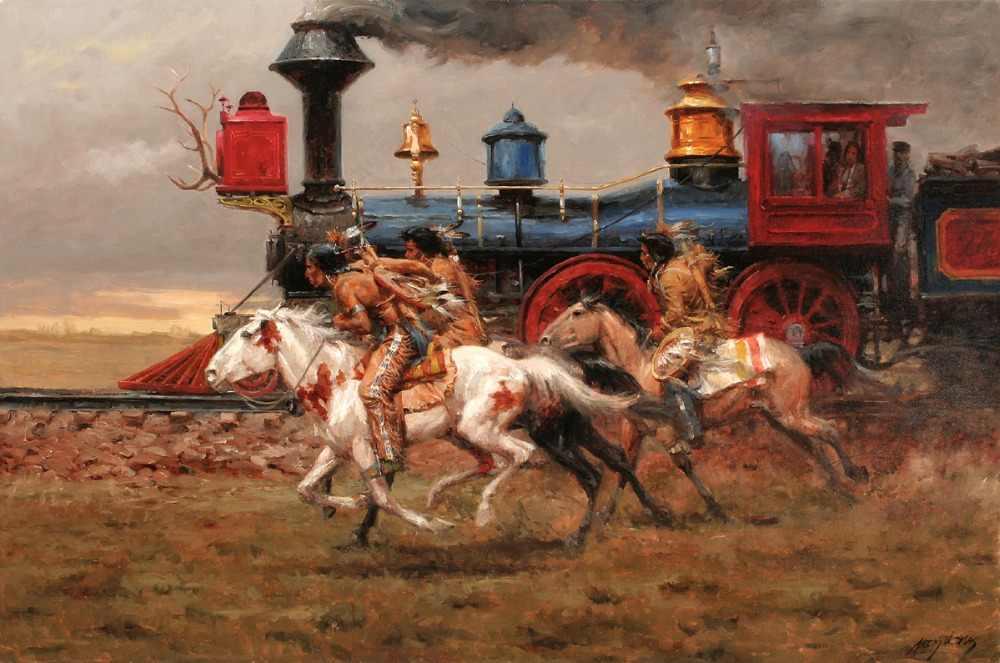 لوحة فنية ذات جودة عالية-فن غربي مطبوع-مواطنون أمريكيون هندي لسباق الخيل-لوحة فنية مطبوعة على القماش