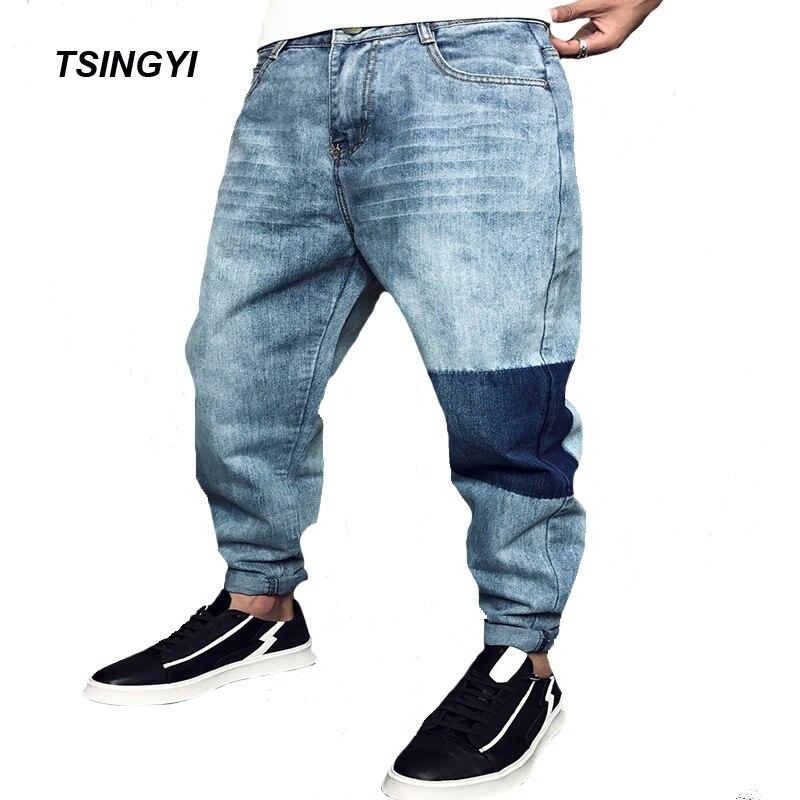 Tsingyi Do old Washing Blue Discolor Denim Jean Men Homme Casual Straight Pants Low Waist Jeans Mens Trousers Plus Size 28-42 denim