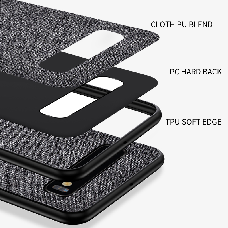 Luxury Slim Soft Fabric Cloth Back Skin Cover Coque For Samsung Galaxy S10