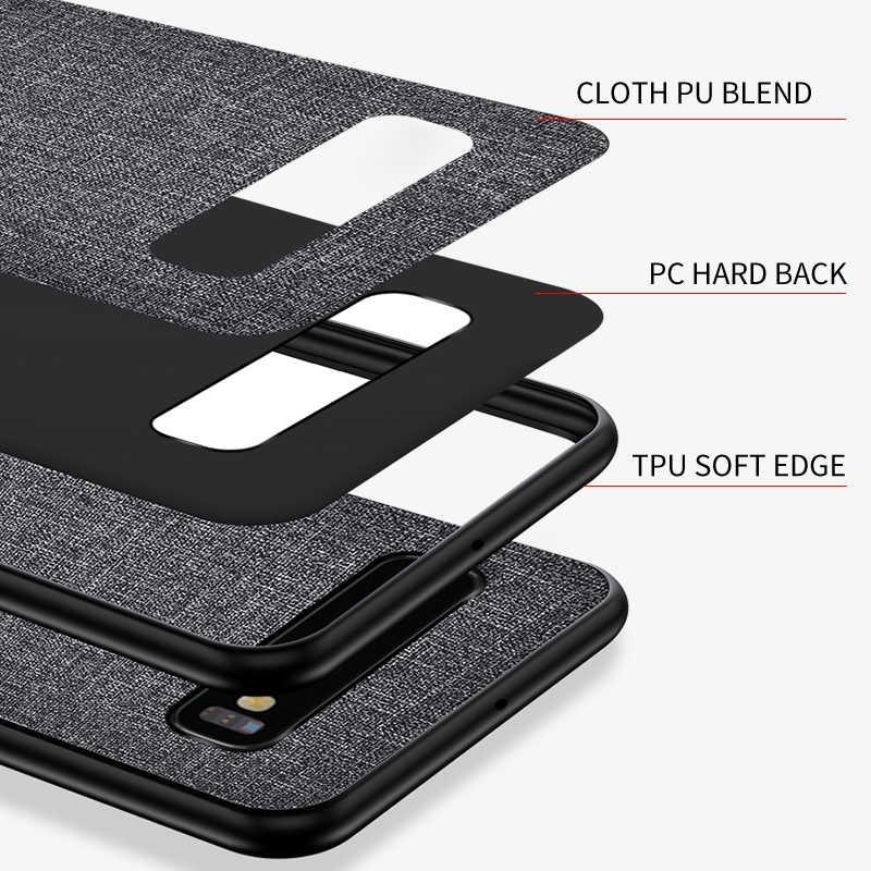 Étui pour samsung de téléphone en tissu de luxe Galaxy S10 5G S10e S9 S8 Plus S7 Edge mince pare-chocs souple