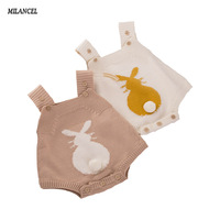 2017 Spring Baby Rabbit Rompers Infant Sweet Knitted Overalls Bunny Baby Bodysuit Toddler Kids Clothes Baby