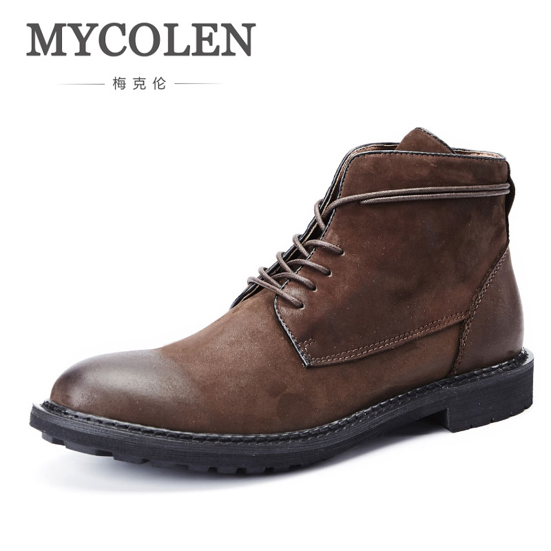 MYCOLEN Leather Winter Shoes Luxury Product Ankle Men Boots Warm Plush Fur Snow Winter Boots Men High Quality Lace-Up Male Boots 2017 genuine leather men boots winter shoes men waterproofs fur ankle plush warm snow boots men high quality mens winter shoes