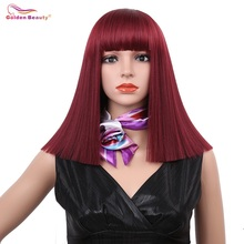 14inch Silky Long Straight Synthetic Hair Wig Mixed Color Blue Blonde Wine Red Cosplay Natural Bob Wigs for Women Golden Beauty все цены