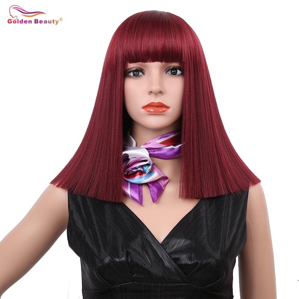 Perruque de cheveux synthétiques longs soyeux 14 pouces couleur mélangée bleu blond vin rouge Cosplay perruques de Bob naturel pour les femmes beauté dorée