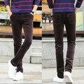 Vestido Del Ocio Del Mens Pantalones de Pana Hombres Pantalones Slim Fit Pantalones de Color Caqui Negro Marrón Azul Más El Tamaño 40 38 36