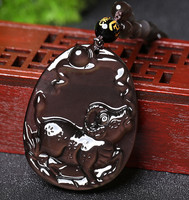 A Twelve Zodiac Chicken Rat Mascot Obsidian Shunyi Cattle Pendant Diy Real Stone Obsidian Jewelry Necklace