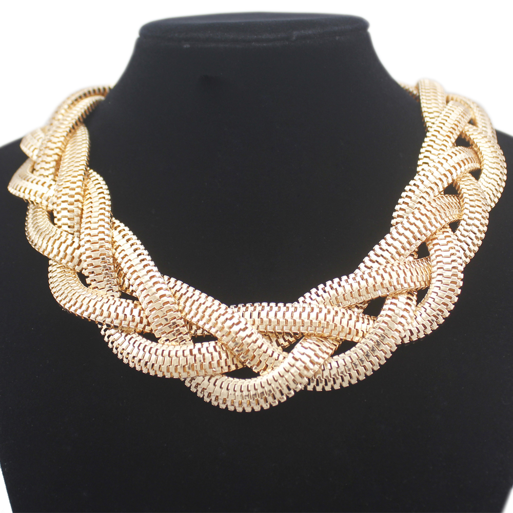 Vintage Gold Egypt Cleopatra Bold Snake Braided Chain Statement Bib Necklace Top Jewelry 2018 New
