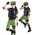 Children Camouflage Dance Clothing Set Halloween Glossy Black Vest Creative Military Uniform Boys Girl Performance Wear