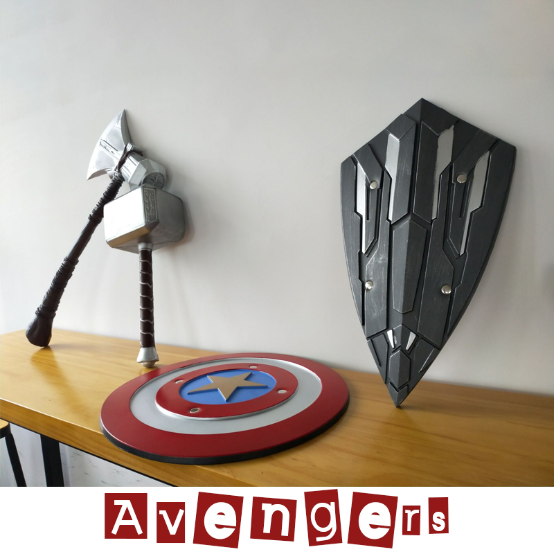1:1 Thor Axe Hammer Captain America Shield Marvel Avengers 4 Endgame 1/6 Scale PVC&Pu Toy Figure Collectible Model Toys Children
