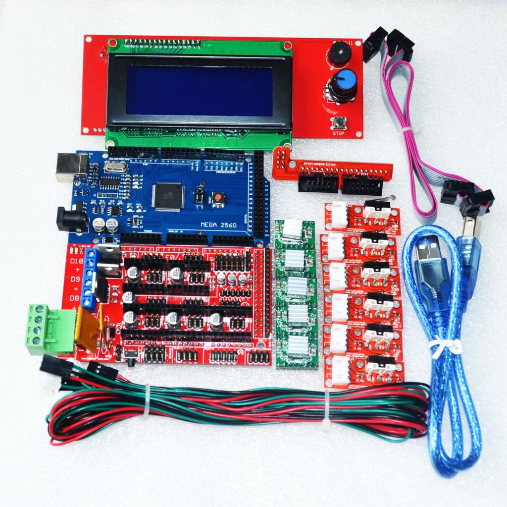 CNC 3D Printer Kit for Arduino Mega 2560 R3 + RAMPS 1.4 Controller + LCD 2004 + 6x Limit Switch Endstop + 5 A4988 Stepper Driver