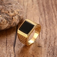 Punk Mens Stainless Steel Black Stone Gold Ring Europe and America Style