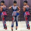 Новый 2016 Женская Мода Традиционных Африки Одежда 2 Шт. Набор Африканской Печати Dashiki Топы Bodycon Длинные Брюки Летом КП #104