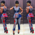 New 2016 Fashion Women Traditional Africa Clothing 2 Pieces Set African Print Dashiki Tops Bodycon Long Pant Summer KP#104