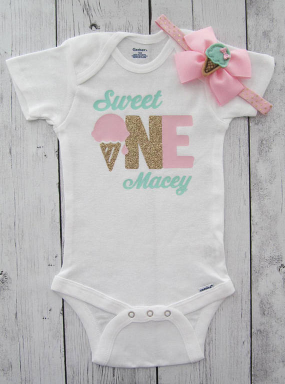6b0e97b3b757 personalized ice cream Sweet one first birthday infant bodysuit onepiece  Tutu Dress romper Outfit Set baby shower party favors -in Party Favors from  Home ...