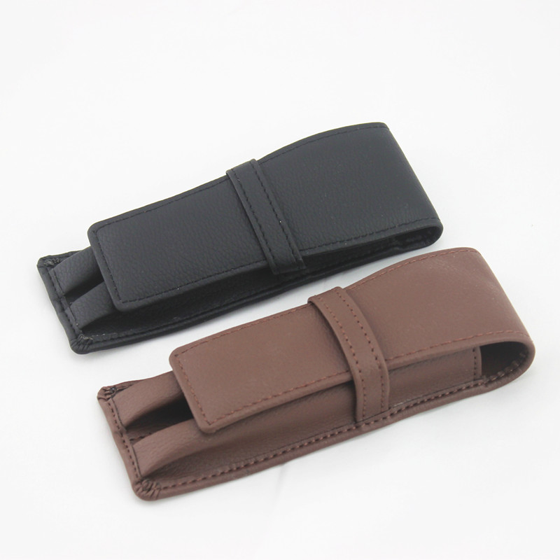 Luxury Black Leather Pen Bag Holder Pencil Case Office School Supplies Double Pouch For Fountain Leader Creative Gift