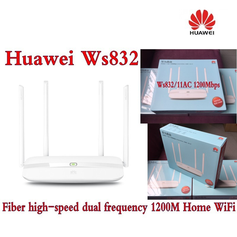 Original Huawei WS832 1200Mbps Dual Core Dual Band Smart Wireless Router Home WiFi Router with 4 x Antennas original huawei honor router standard version ws831 dual band wifi 2 4ghz 300mbps 5ghz 867mbps beamforming home smart router