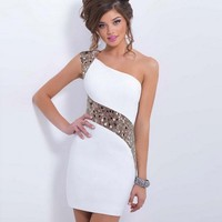 Sexy Short One Shoulder Sequin Robe Sequined Gowns Luxe Slip Dress Sexy Party Court Dress Femmes