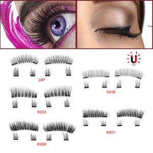 Image 2 - 6Pcs Magnetic Eyelashes Invisible Magnetic Lashes Mink Eyelashes With Tweezers 3D Mink Lashes Thick Full Strip False Eyelashes