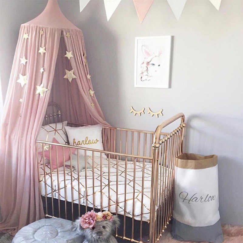 Cotton Baby Canopy Mosquito Net Girls Princess Crib Bed Curtain Children  Play Tents House Kids Hanging Tent Room Decor With Star