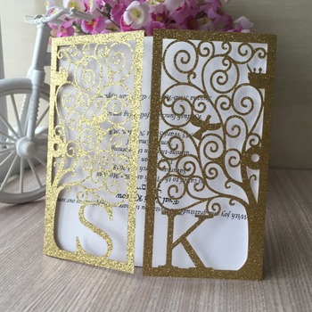 50pcs/lot Laser Cut Glitter paper Custom Name Engagement Wedding Invitation Card Party Bussiness Cards Centerpieces Decoration