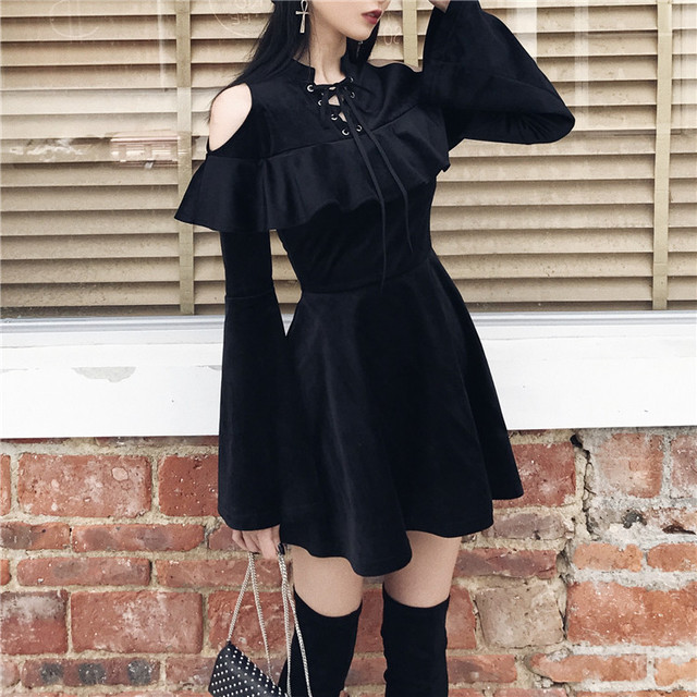 New Arrival Autumn Gothic Girls Dresses Chest Hollow Out  Lace Up Collar Sexy Women Dresses Long Sleeve A Line Black Punk Dress 1