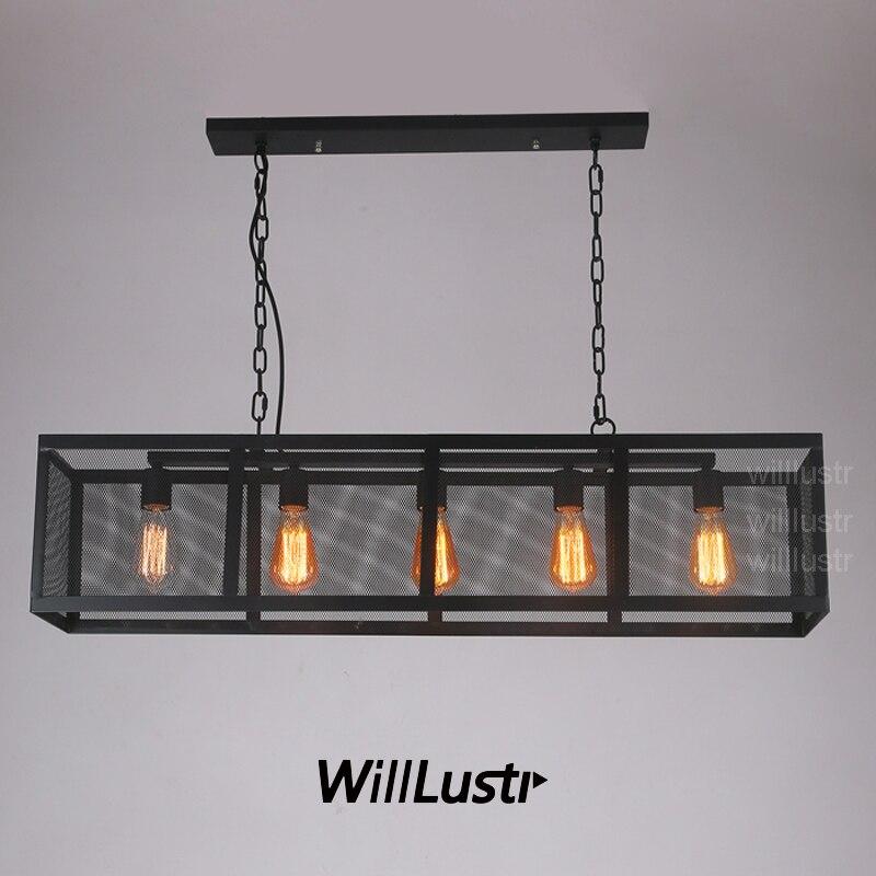 cuboid iron pendant lamp rectangular hanging lighting long ...