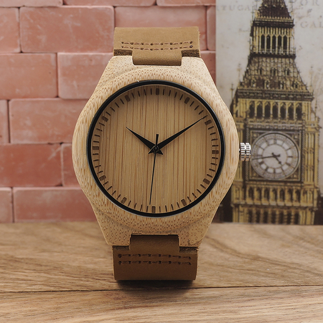 BOBO BIRD Brand Bamboo Watches Men Japan 2035 Move' Wooden Wrist Watch with Genuine Leather Band as Gifts for Friends C-F18