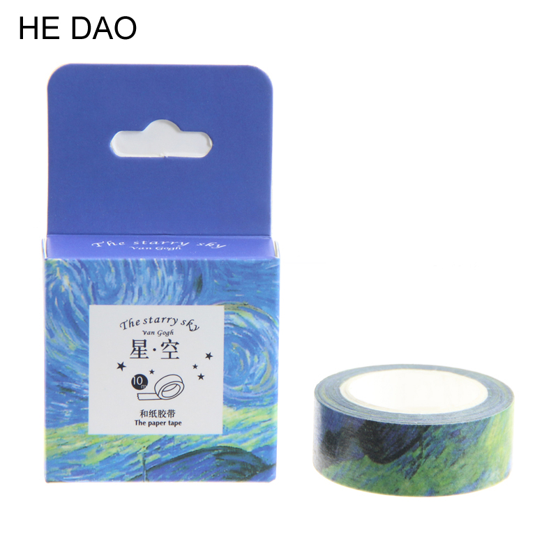 15mm*10m DIY Van Gogh Painting Paper Washi Tapes Masking Tape Decorative Adhesive Tapes School Supplies