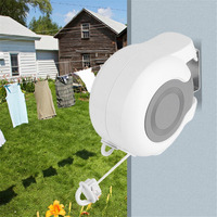 13M Clotheslines Wall Mounted Retractable Double Clothes Drying Line Indoor Outdoor Washing Laundry Storage Organization Tool