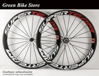 Superteam 50mm carbon wheelset road bike wheel 23mm width tubular aero 700c spoke wheels