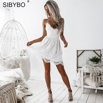 Sibybo Backless Spaghetti Strap Sexy Lace Dress Women Sleeveless V-Neck Loose Summer Dress Cotton Black Elegant Party Dresses 1