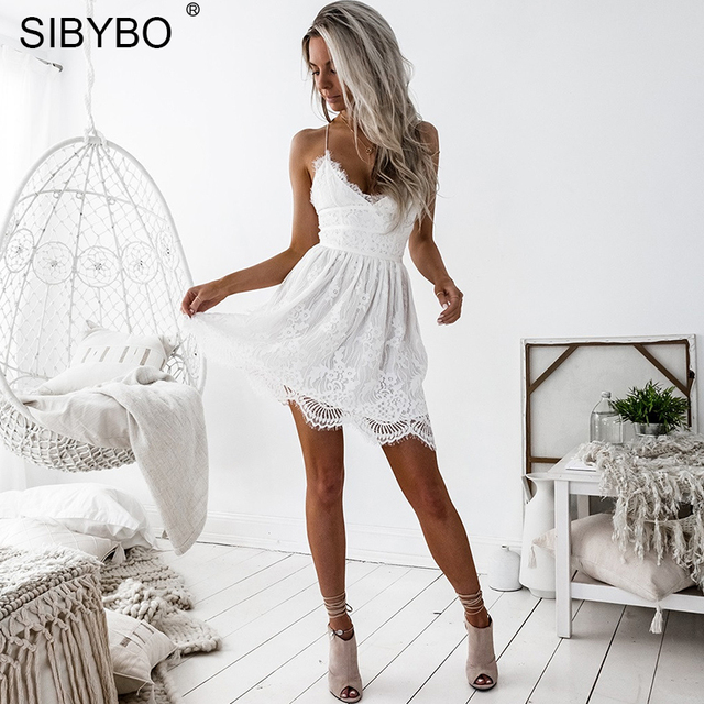 Sibybo Backless Spaghetti Strap Sexy Lace Dress Women Sleeveless V-Neck Loose Summer Dress Cotton Black Elegant Party Dresses 1