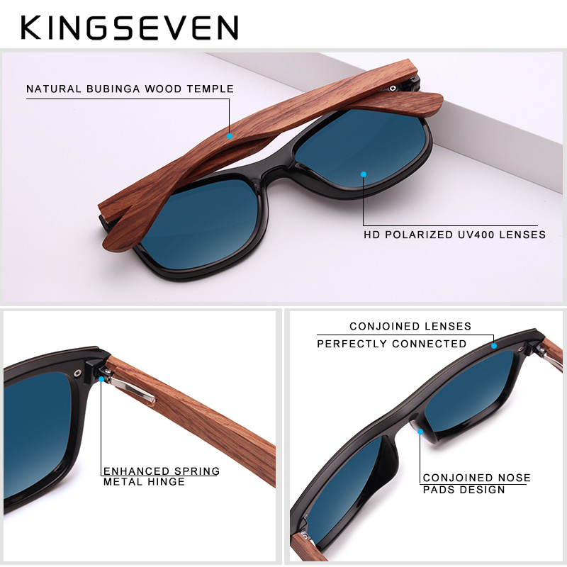 Image 2 - KINGSEVEN Bubinga Wooden Men's Sunglasses Women Polarized Retro Rimless Green Mirror Lens Sun Glasses Handmade Driving Eyewear-in Men's Sunglasses from Apparel Accessories on AliExpress