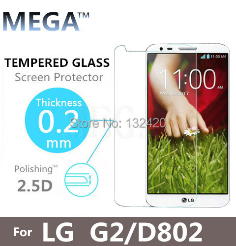 2.5D Border Round Ultra-thin Optimus G2 Tempered Glass Screen Protector Protective Film For LG G2 D802  With Retail Package