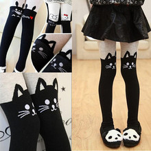Girls Tights Autumn Winter Girls Splice Thick Stocking Devil Cat Cotton Knitted Stitching Kids font b