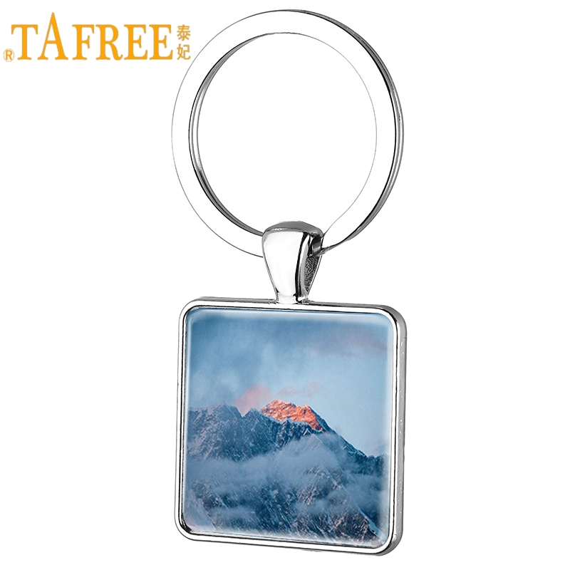 TAFREE Mount Qomolangma Chinese Scenery Art Picture Square Keychain Trendy Key Ring Pendent Jewellry & Accessories ZM14