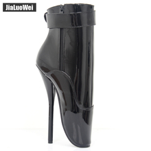 2017 New Extreme 18cm 7″ High Spike Heel padlocks Fashion Fetish Sexy Thin Heel Patent Leather Ankle Strap Ballet Boots