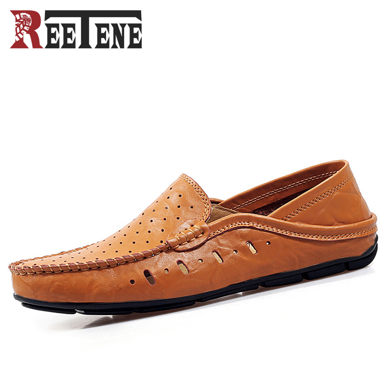 REETENE Verano Hueco de Cuero Mocasines Zapatos de Los Hombres, transpirable Zap