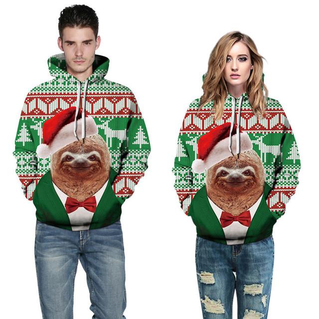 New Christmas Hoodies Sloth Print 3D Hoodie Sweatshirt Men Women Autumn Winter Sportswear Tracksuit 2019 Pullover Hoody Tops