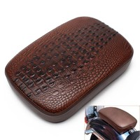 Motorbike Pillion Pad Suction Cup Solo Rear Crocodile Leather Style Seat for Harley Sportster Softail FLS Touring XL 883 1200