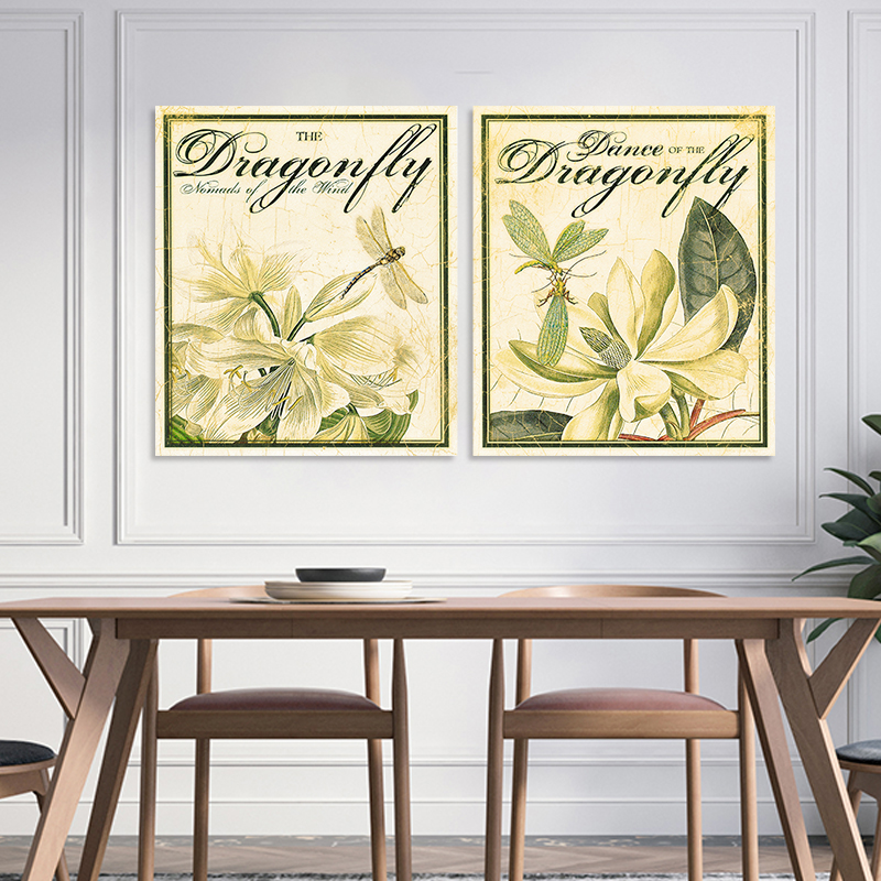 2 Pieces Retro Animals Dragonfly Flowers Decoration Wall Art ...