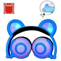 AIYIMA Bluetooth Earphone Wireless Headphones Foldable Flashing Cat Ear Kids Headphones Gaming Headset With LED Light c0521